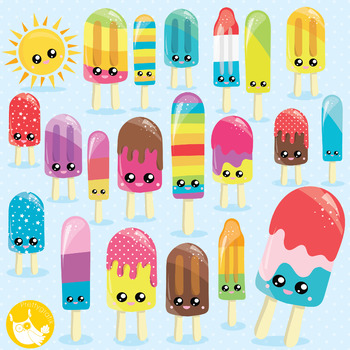 Popsicle clipart commercial use, vector graphics, digital  - CL1002