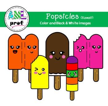Popsicle Clipart Summer Kawaii été Pop Glacé