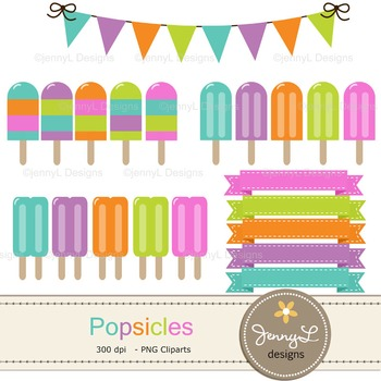 Popsicle digital paper and clipart
