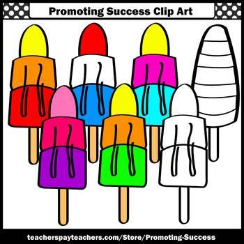 Rainbow Popsicles Clip Art SPS