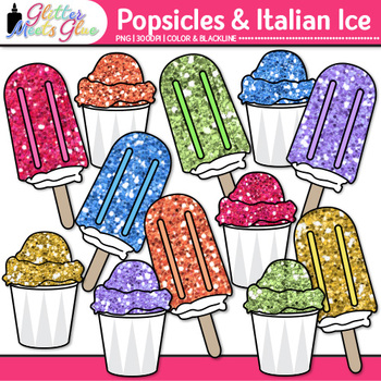 Rainbow Popsicle Clip Art {Glitter Treats to Teach Food Groups & Nutrition}