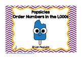 Popsicles Ordering Numbers in the 1,000s Task Cards