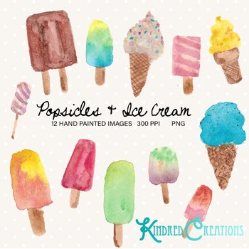 Popsicles and Ice Cream Cones clipart Set 300 dpi printable clipart