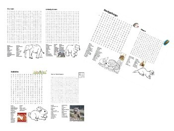 Popular Animals Word Search Pack