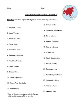 Popular Asian Capitals and Countries Worksheet (or Test) with Answer Key