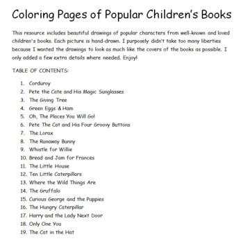 Popular Children's Books- Coloring Pages
