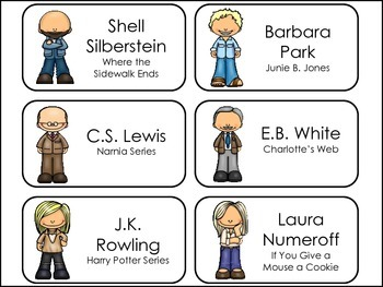 Popular Children's Authors Picture Word Flash Cards.