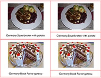 Popular European Food and their Countries of Origin: three part cards