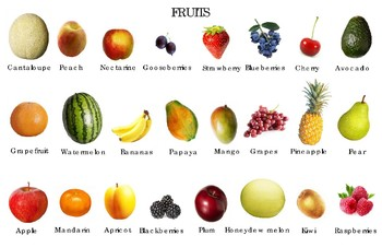 """Popular Fruits Poster:  """"Ledger/Tabloid"""" (11 x 17 inches)"""
