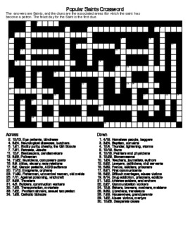Popular Saints Crossword Puzzle and Word Search with KEYS