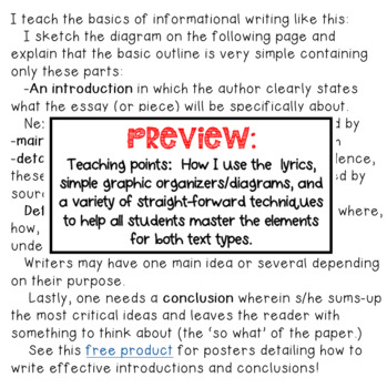 Pop Song Lyrics: Mastering Informational & Opinion Essay Structure Elements 3-5