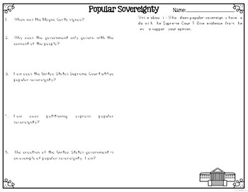 Popular Sovereignty Reading Passages Leveled Texts We The People