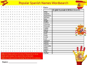 Popular Spanish Names Wordsearch Sheet Starter Activity Keywords Spain Country