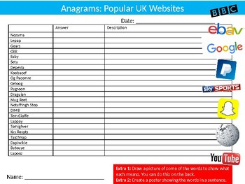 Popular Websites Anagrams Puzzle Sheet Keywords Activity Computer Science