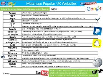 Popular Websites Matchup Puzzle Sheet Keywords Activity Computer Science