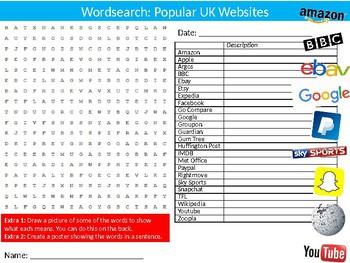 Popular Websites Wordsearch Puzzle Sheet Keywords Activity Computer Science