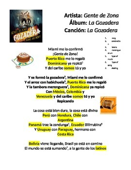 Popular song that includes most of the Latin American countries in a worksheet.