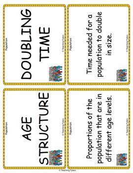 Population Vocabulary Cards
