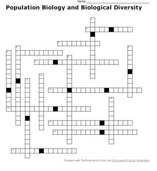 Population Biology and Biological Diversity Crossword Puzzle
