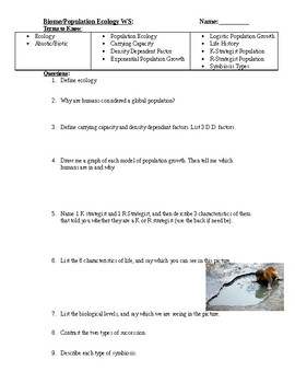 Population/Community Ecology Worksheet