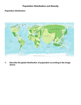 Population Distribution & Density Worksheet & Answer Key