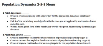 Population Dynamics 2-5-8 Differentiated Learning Menu