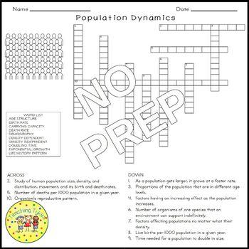Population Dynamics Crossword Puzzle