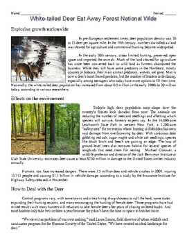 Population Ecology Literature: White-tailed Deer Eat Away Forest National Wide