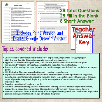 Population Ecology Quiz by Amy Brown Science | Teachers ...