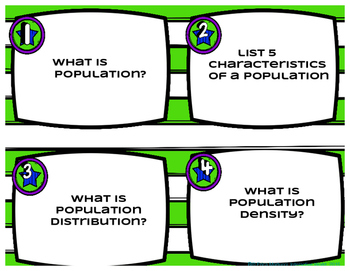 Population Ecology Task Cards