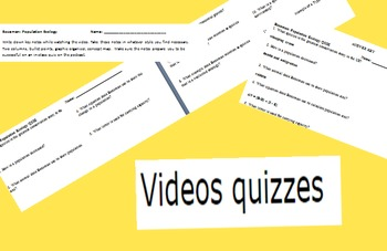 Population Ecology Videos quizzes (bozeman and crash course)