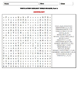 Population Ecology Word Search Part 2