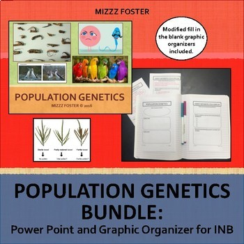 Population Genetics Bundle: Power Point and Graphic Organizer for INB
