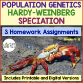 Population Genetics, Hardy Weinberg, and Speciation Homework Assignments