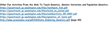 Population Genetics Video Worksheet and Free Internet Activities (Editable)