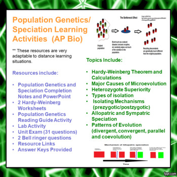 Population Genetics and Patterns of Evolution Learning Package