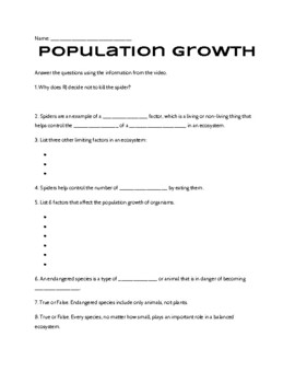 Population Growth Study Jams