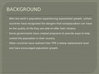 Population Policies Power Point Presentation