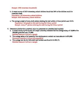 Population/Sample/Parameter/Statistic Worksheet