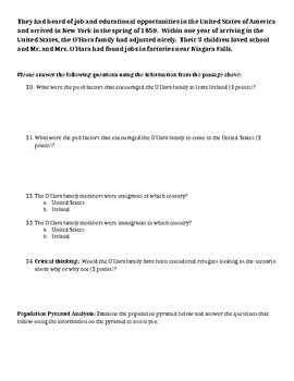 Population and Migration Test (2 forms)