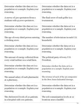 Population vs. Sample Flashcards
