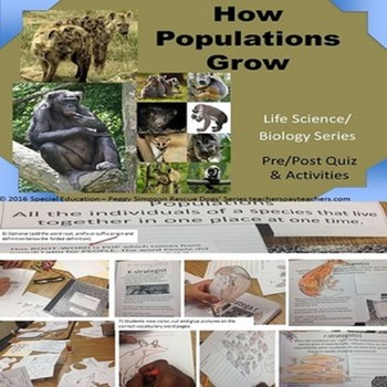Populations Ecology Part 1 Biology Life Science SPED ESL Quiz & Scrapbook
