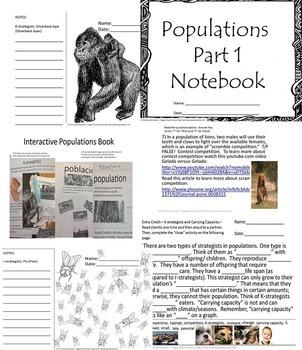 Populations Ecology Part 1 Biology Life Science SPED ESL Quiz & Scrapbook