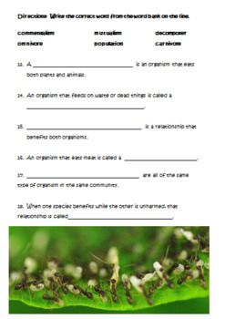 Populations and Ecosystems Test and Study Guide