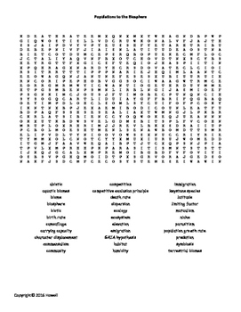 Populations to the Biosphere Word Search for Middle School Science