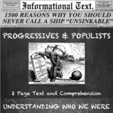 Populists and Progressives--3rd Party Reforms:  Informatio