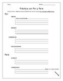 Por & Para General Writing Assignment! Spanish