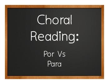 Por Vs Para Choral Reading