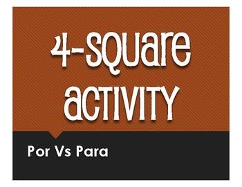 Por Vs Para Four Square Activity