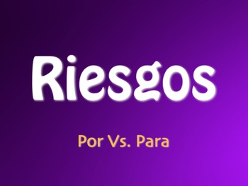 Por Vs Para Jeopardy-Style Review Game